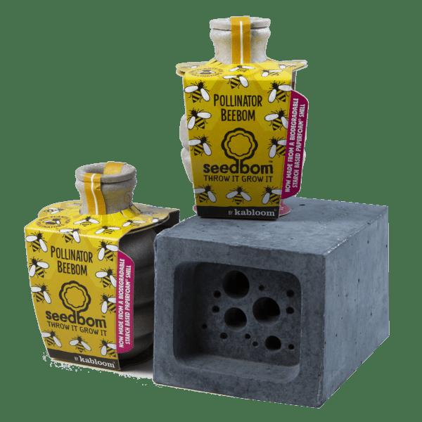 Bee Block Hotel & Seedboms gift set - charcoal