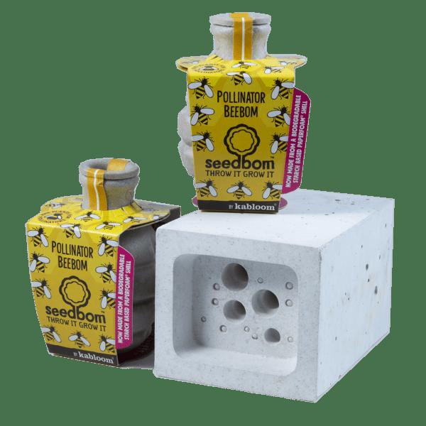 Bee Block Hotel & Seedboms gift set - concrete