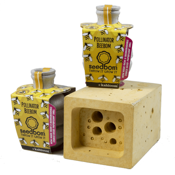 Bee Block Hotel & Seedboms gift set - yellow